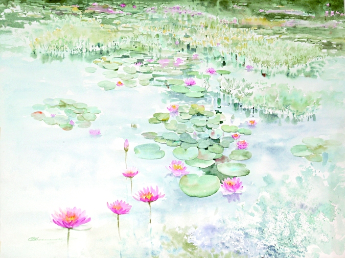 Symphony of Blooming, 2006, Watercolour, 56 x 75 cm.