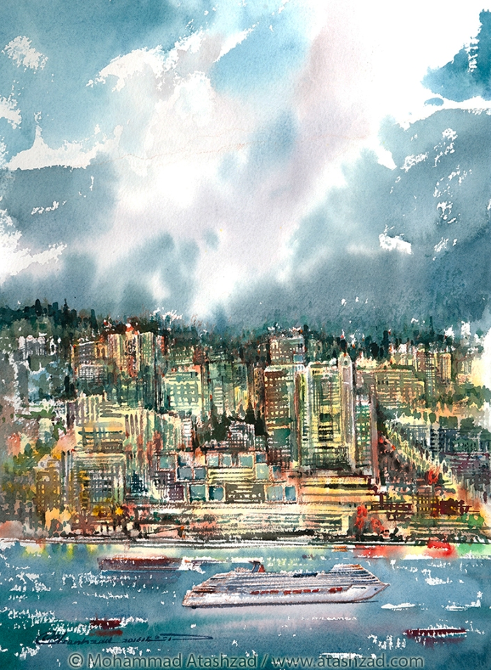 north-vancouver-waterfront-at-night-2016-watercolour-15x11in-by-mohammad-reza-atashzad-1080px