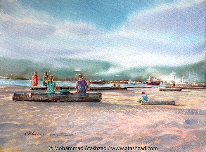 A Sunny Day at Jericho Beach, 2017, Watercolour 11x15 in, by M. R. Atashzad
