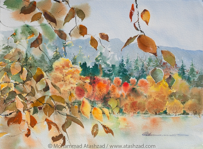 Autumn Colours On Lost Lagoon Vancouver, 2017, Watercolour 11x15 in, by M. R. Atashzad
