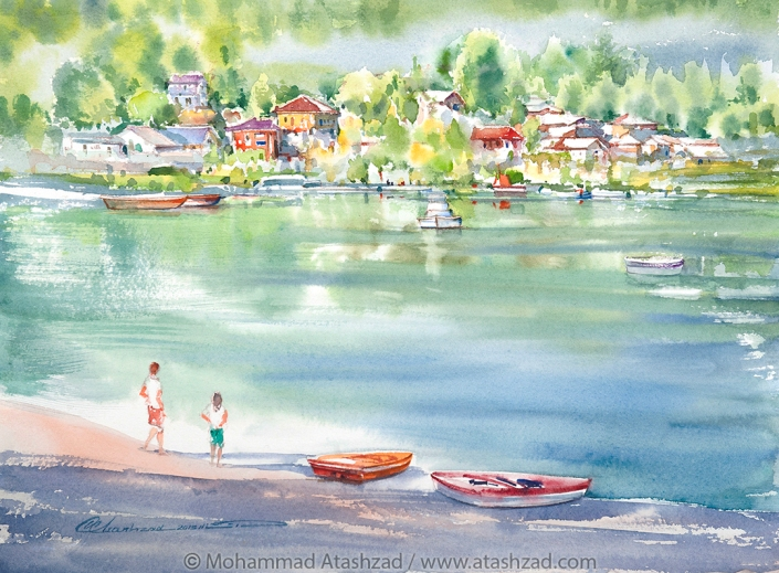An Enjoyable Day at Deep Cove, 2015, Watercolour 15x11in,- by Mohammad Reza Atashzad-1