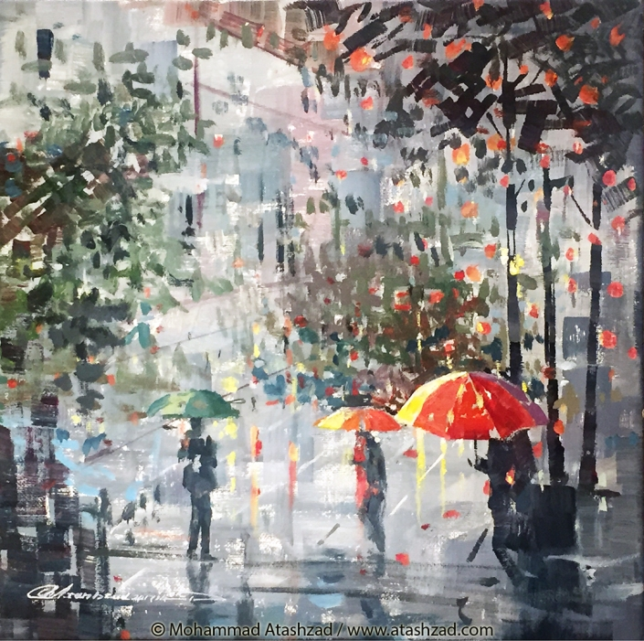 Colourful Umbrellas-2017-Acrylic on Canvas-12x12in by Mohammad Reza Atashzad