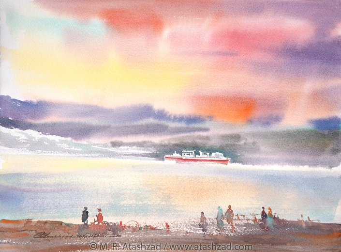 English Bay Sunset,2018, Watercolour on paper 11x15in, by M. R. Atashzad