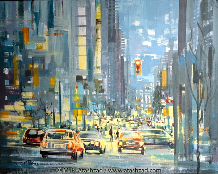 Howe & Davie Street at Night, 2018, Acrylic on canvas panel 16x20 in, by M. R. Atashzad