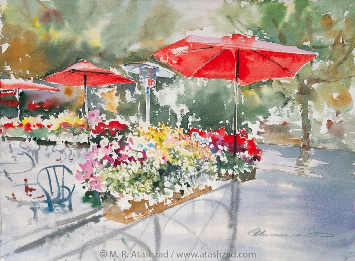 Red Umbrellas, 2018, Watercolour on paper 11x15in, by M. R. Atashzad