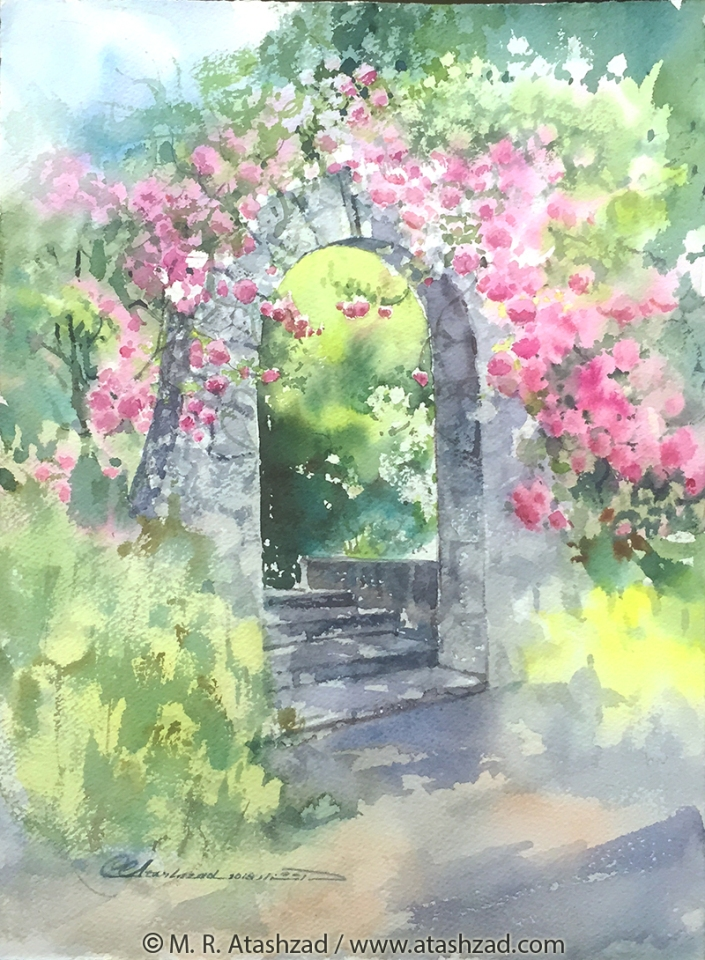 Joyful Entrance ( VanDusen Garden, Vancouver BC ), 2018, Watercolour on paper 15x11in, by M. R. Atashzad