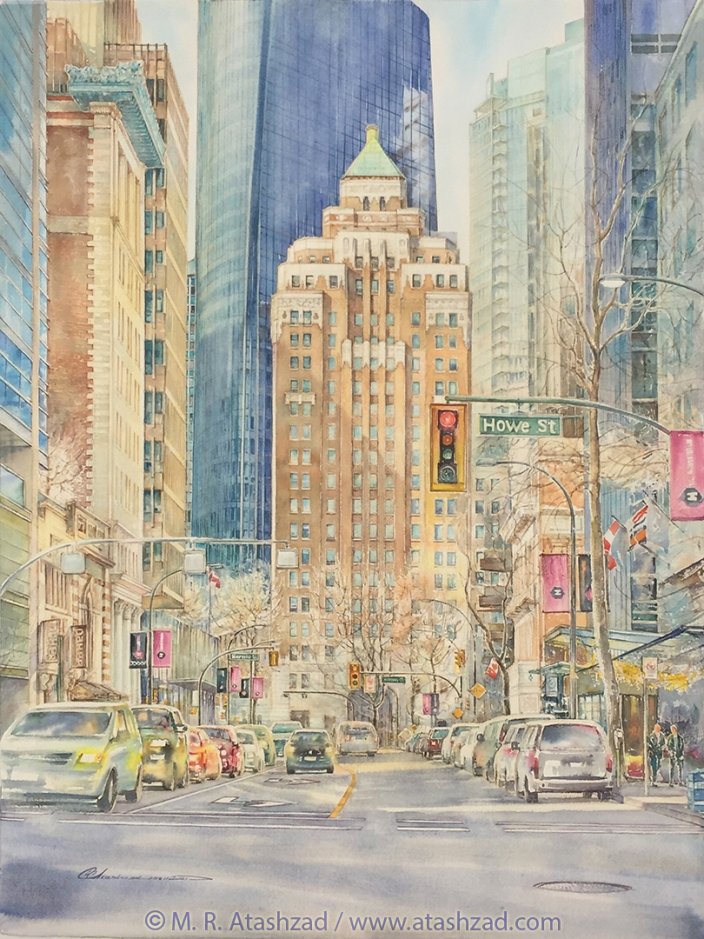 Marine Building 2018, Watercolour on paper, 22 x 29 in, by M. R. Atashzad